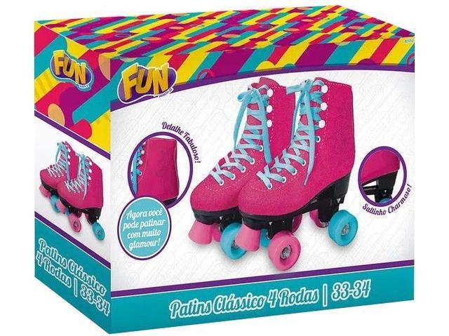Imagem de Patins 4 Rodas Infantil Fun Clássico Rosa