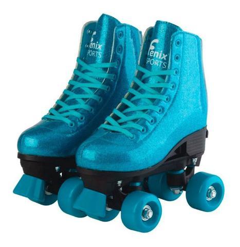 Imagem de Patins 4 Rodas Retrô Azul Glitter 31 ao 34 Roller Skate