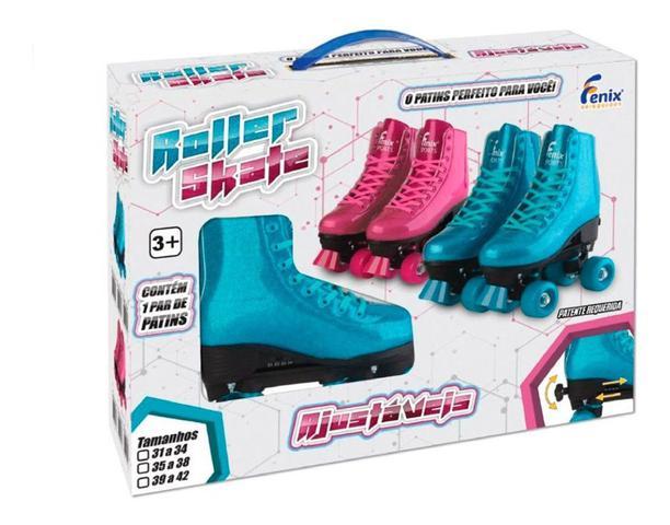 Imagem de Patins 4 Rodas Retrô Azul Glitter 35 ao 38 Roller Skate