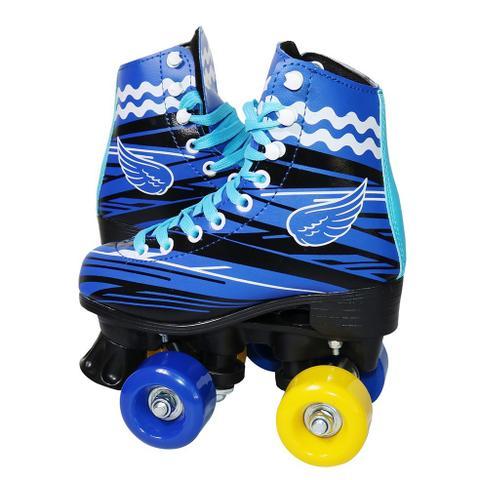 Imagem de Patins 4 Rodas Roller Clássico Tradicional Bw-020 Azul 32/33 - Azul - 32/33