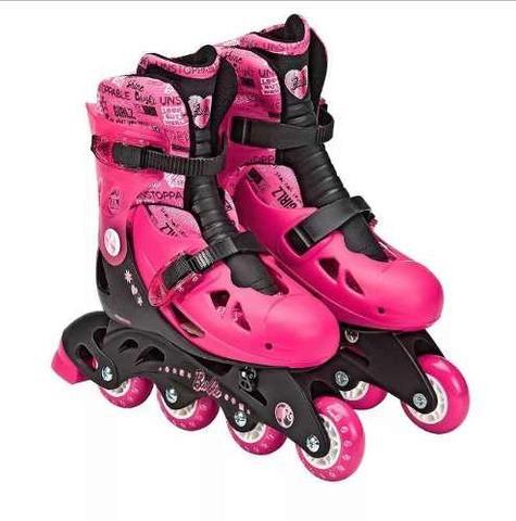 Imagem de Patins Barbie Ajustáveis com Kit de Segurança 33 a 36 Fun