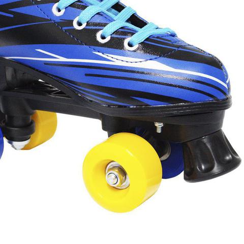 Imagem de Patins Clássico Tradicional Quad 4 Rodas Roller de Rua Masculino Azul Tamanho 31 Importway BW-020-AZ