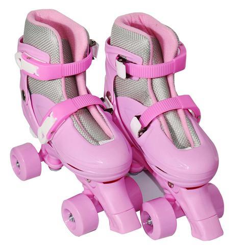 Imagem de Patins Infantil 4 Rodas Roller Rosa Tamanho P M G Certificado Inmetro
