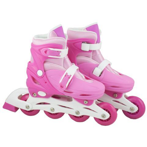Imagem de Patins Infantil com Led 4 Rodas In-Line Feminino 32-35 Rosa e branco