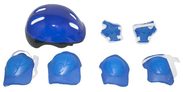 Imagem de Patins Infantil Roller Masculino Com Capacete e Acessórios 36-39 Azul com preto