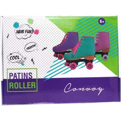 Imagem de Patins Roller 4 Rodas 35 Tradicional Verde e Cadarço rosa