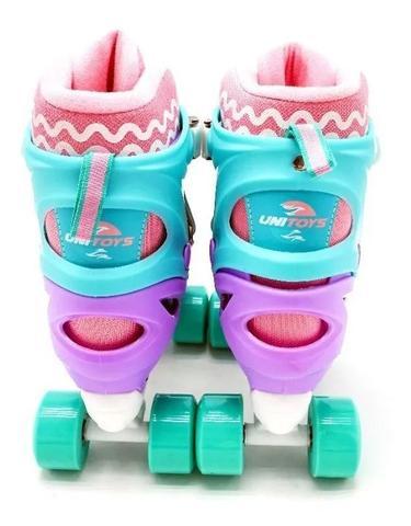 Imagem de Patins Roller 4 Rodas Infantil Violeta com Kit de Proteção e Capacete 34-37