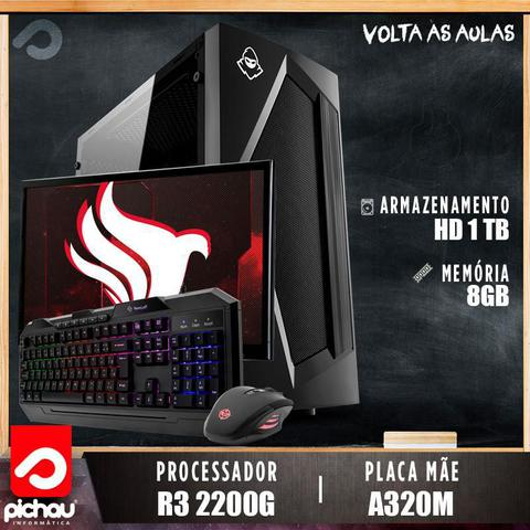 Imagem de PC Estudo Pichau, AMD Ryzen 3 2200G, 8GB DDR4, HD 1TB, 500W + Monitor 19'