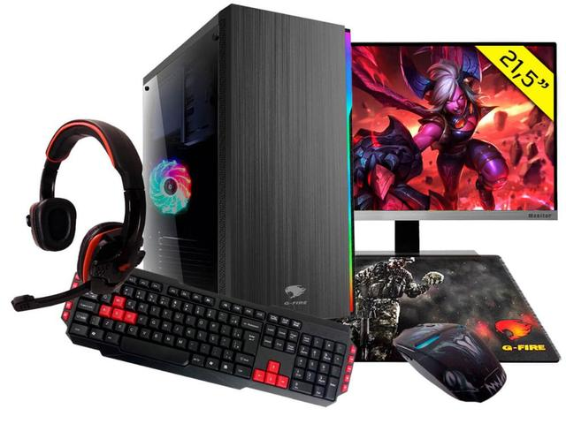 Desktop G-fire Gamer Htg-565 Amd Ryzen 3 3200g 3.60ghz 8gb 1tb Amd Radeon Vega 8 Windows 10 Pro Com Monitor