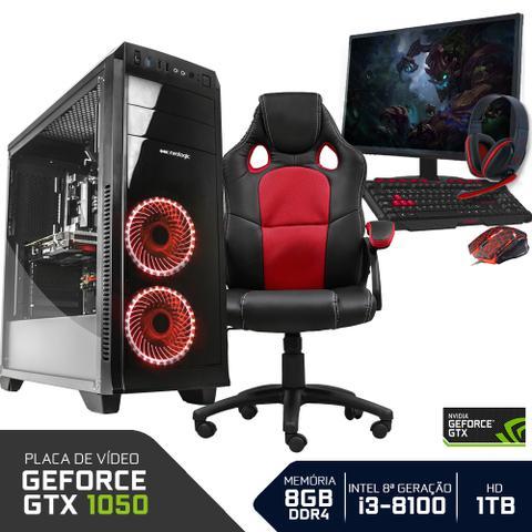 Imagem de Pc gamer completo neologic nli80947 intel i3-8100 8gb (geforce gtx 1050 2gb)1tb + cadeira gamer red