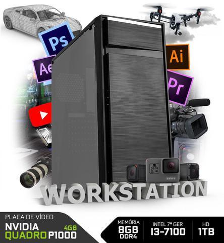 Desktop Neologic Workstation Nli80400 I3-7100 3.90ghz 8gb 1tb Quadro Pascal P1000 Windows 10 Sem Monitor