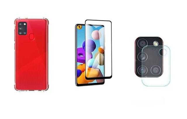 Imagem de Película De Vidro 3D 5D Samsung Galaxy A21S + Película Da Lente + Capa Reforçada