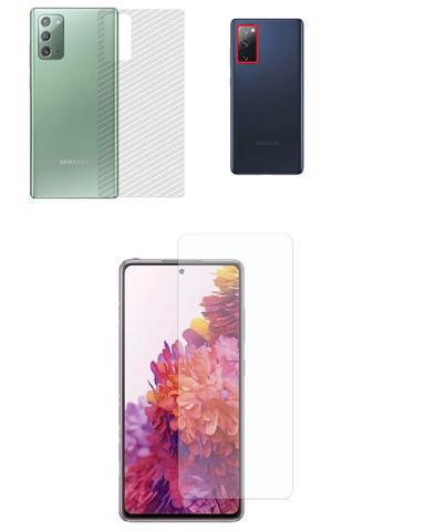 Imagem de Película Verso Fibra Carbono + Película Câmera Lente + P/ Nano Gel Frontal Samsung Galaxy S20 FE Tela 6.5