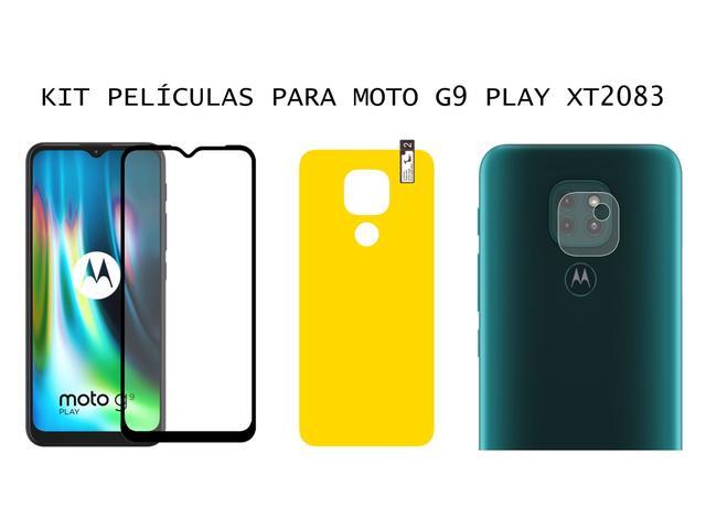 Imagem de Películas 3d Full + Pel. Câmera + Gel Traseira Moto G9 Play