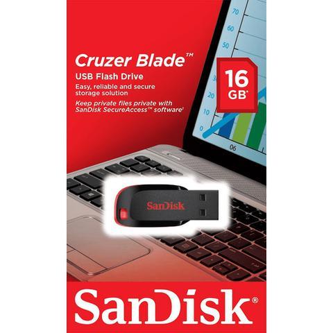 Imagem de Pen Drive 16 GB Cruzer Blade Preto e vermelho Sandisk
