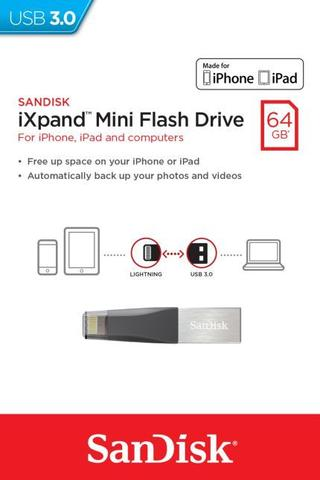 Imagem de Pen Drive Sandisk 64GB iXpand Mini Flash Drive USB 3.0 para iPhone e iPad
