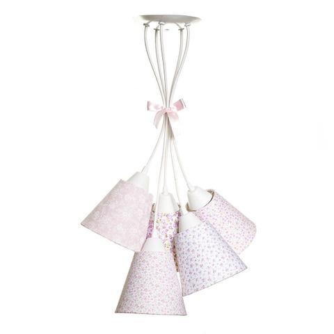 Imagem de Pendente Com 5 Cúpulas Rosa Florais Quarto Bebê Infantil Menina