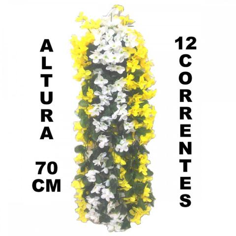 Imagem de Pendente flores artificiais c/ suporte de parede amarelo+bra