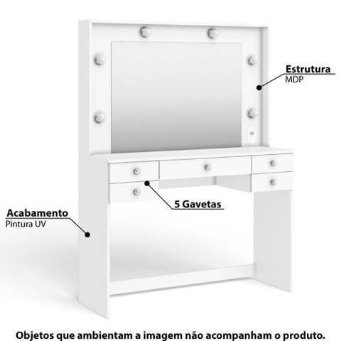 Imagem de Penteadeira 433 com 5 Gavetas e Espelho - Branco
