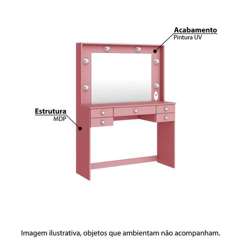 Imagem de Penteadeira 433 com 5 Gavetas e Espelho - Rosa
