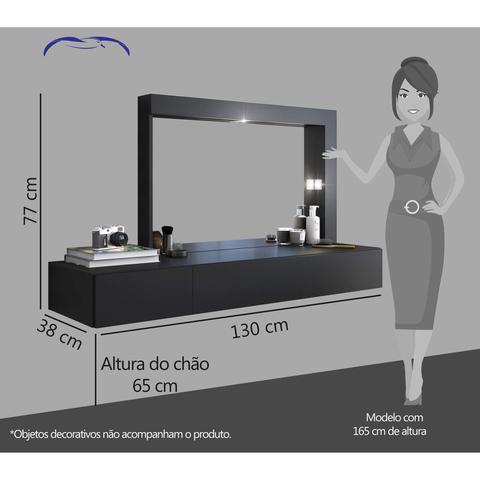 Imagem de Penteadeira Camarim 2 Gavetas com Espelho Mimo Siena Móveis Preto