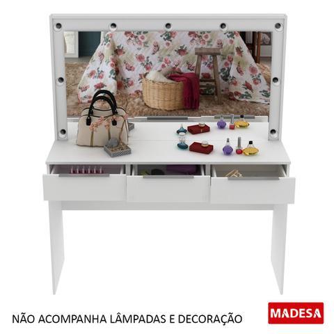 Imagem de Penteadeira Camarim Branca Madesa Carly com Espelho e 3 Gavetas