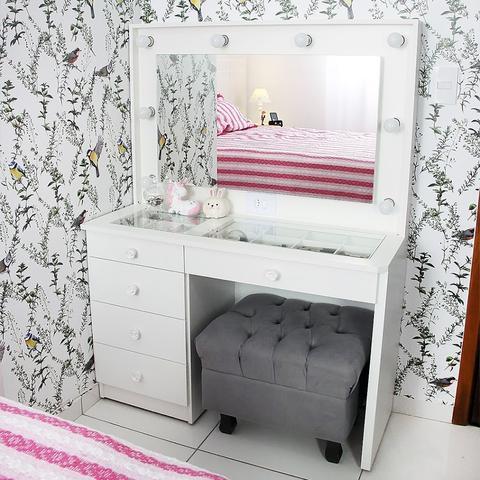 Imagem de Penteadeira Camarim Branca Mdf Completa 5 Gavetas - Dom Móveis