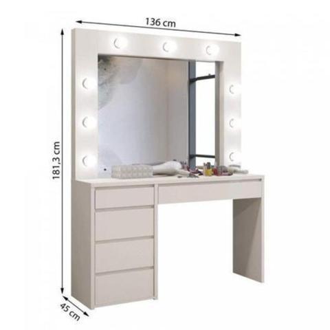 Imagem de Penteadeira Camarim com Espelho 5 Gavetas Berlim Plus Mavaular -  Branco - Mavaular