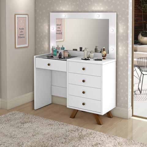 Imagem de Penteadeira Camarim Com Espelho 5 Gavetas Luna Branco - Móveis Lupi