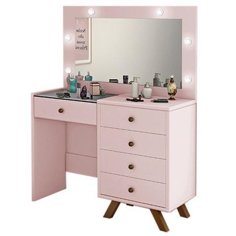 Imagem de Penteadeira Camarim Com Espelho 5 Gavetas Luna Rosê - Móveis Lupi