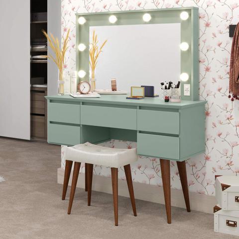 Imagem de Penteadeira Camarim com Espelho 5 Gavetas Strass Patrimar Móveis Verde Bellagio