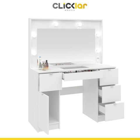 Imagem de Penteadeira Camarim Com Espelho e Luzes 117 Cm Bianca 5 Gavetas MDP Branco - ClickLar