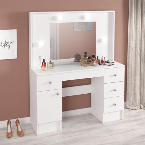 Imagem de Penteadeira Camarim com Espelho Lexa 1 Porta e 5 Gavetas Yescasa Branco