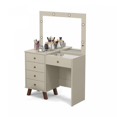 Imagem de Penteadeira Camarim LED com Espelho 5 Gavetas Mel Patrimar Móveis Off White