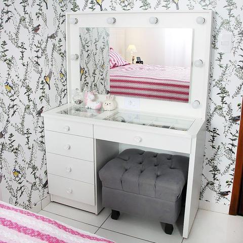 Imagem de Penteadeira Camarim Mdf Completa 5 Gavetas, espelho, vidro, parte elétrica pronta - Dom Móveis