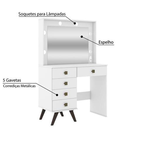 Imagem de Penteadeira Camarim Retrô com 5 Gavetas e Espelho - Branco