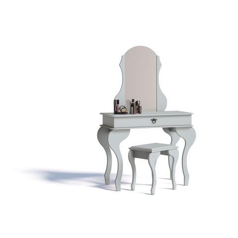 Imagem de Penteadeira com Espelho 1 Gaveta e Banqueta Lilly Imcal Branco