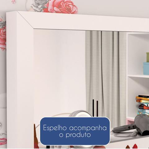Imagem de Penteadeira Com Espelho 1 Gaveta Twister Tcil Móveis Neve/Aqua
