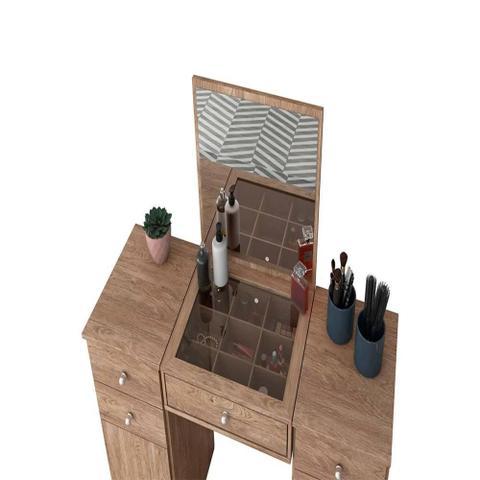 Imagem de Penteadeira com Espelho 2 Portas e 5 Gavetas Lorena Nogal - Demóbile