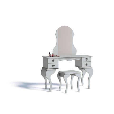 Imagem de Penteadeira com Espelho 4 Gavetas e Banqueta Charlotte Imcal Branco