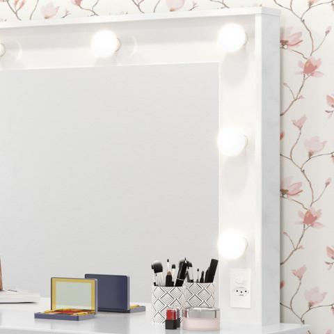 Imagem de Penteadeira Com Espelho 5 Gavetas Pés Palito Camarim Strass Branco - Patrimar Móveis