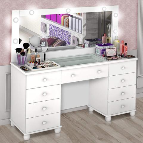 Imagem de Penteadeira LED com Espelho 9 Gavetas Camarim Planet Baby Branco