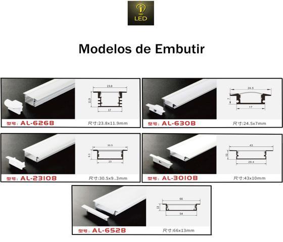 Imagem de Perfil Embutir Alumínio 30.5x9.6mm Para Fita de LED 2 Metros