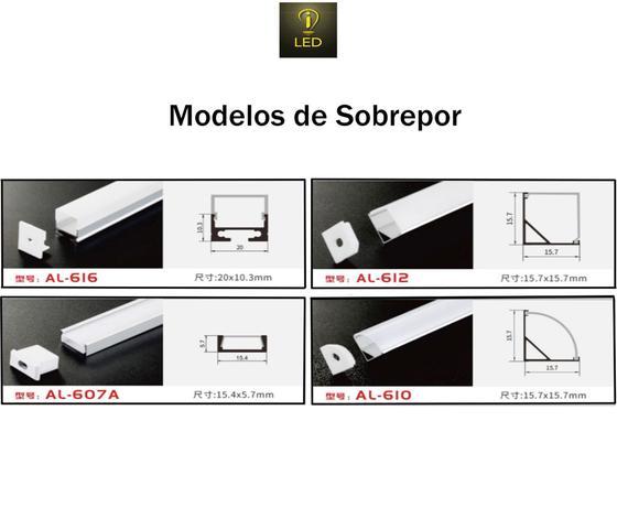 Imagem de Perfil Sobrepor Slim Alumínio 15.4x5.7mm Para Fita LED 2 Metros