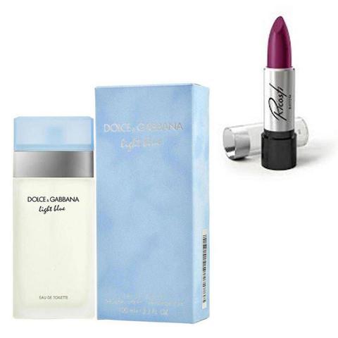 Imagem de Perfume Feminino Dolce Gabbana Light Blue 100ml com Batom Ricosti Cor Glamour