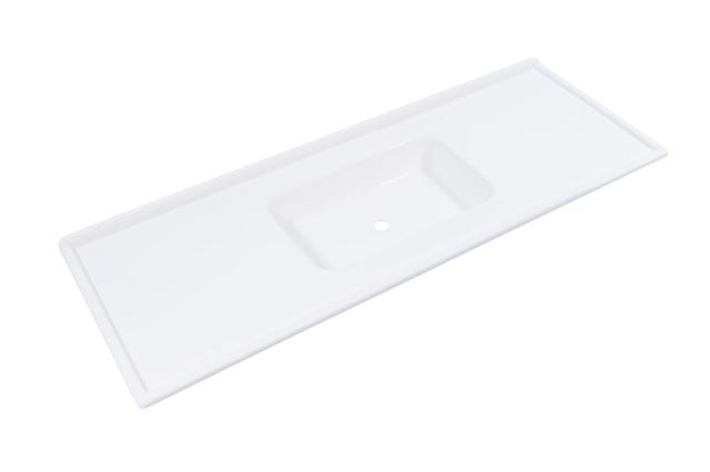 Imagem de Pia de Cozinha Decoralita Premium Marmore 140cm X 54cm Branco