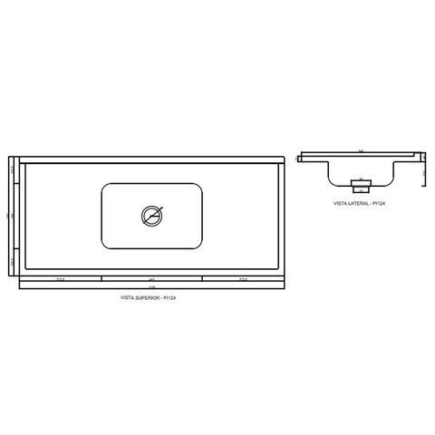 Imagem de Pia para Balcão de Cozinha com Bojo Inox Marmore Sintético 120x54cm Branco Decoralita
