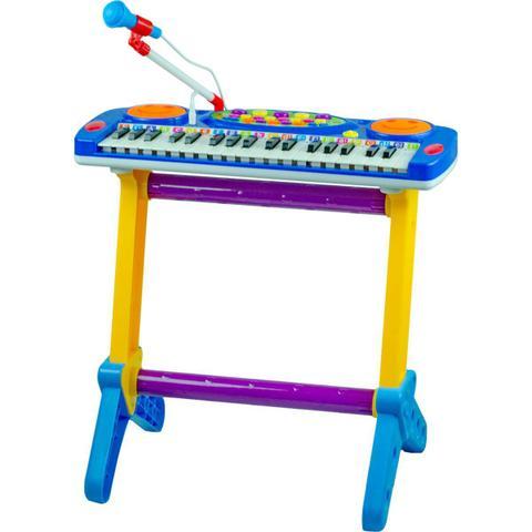 Imagem de Piano Musical Infantil C/ Banquinho Microfone Azul Menino