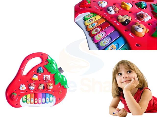 Imagem de Piano Teclado Infantil Bebê Bichos Musical Moranguinho