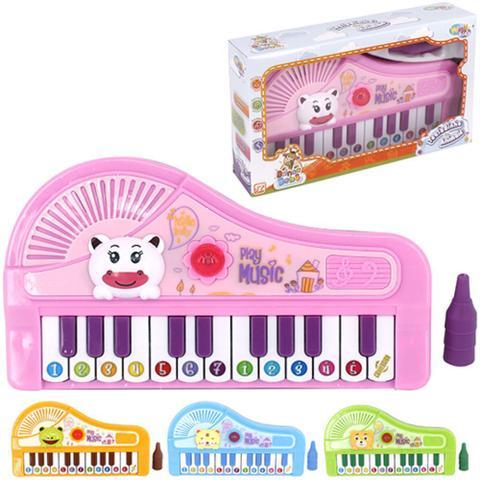 Imagem de Piano teclado musical animaizinhos brinquedo infantil som luz cantigas e notas menino menina